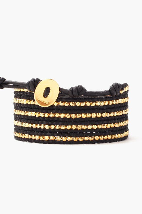 Gold Nuggets Five Wrap Bracelet on Natural Black Leather