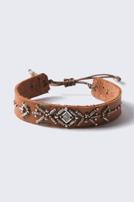 Tan Mix Adjustable Leather Bracelet