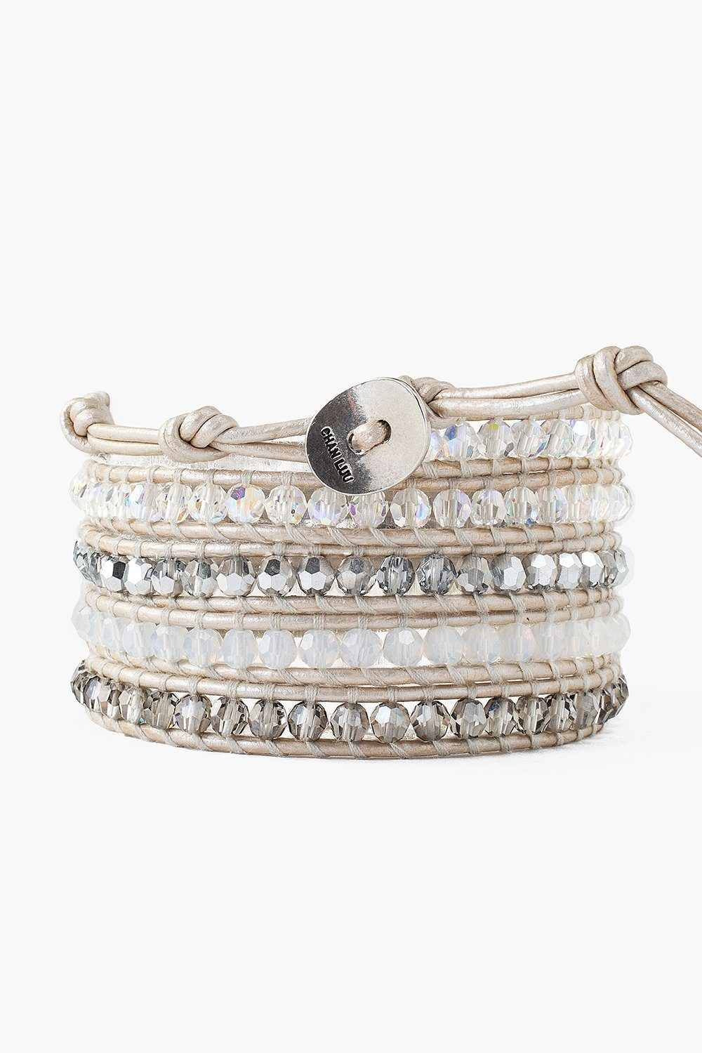 Crystal and White Opal Mix Wrap Bracelet on Pearl Leather
