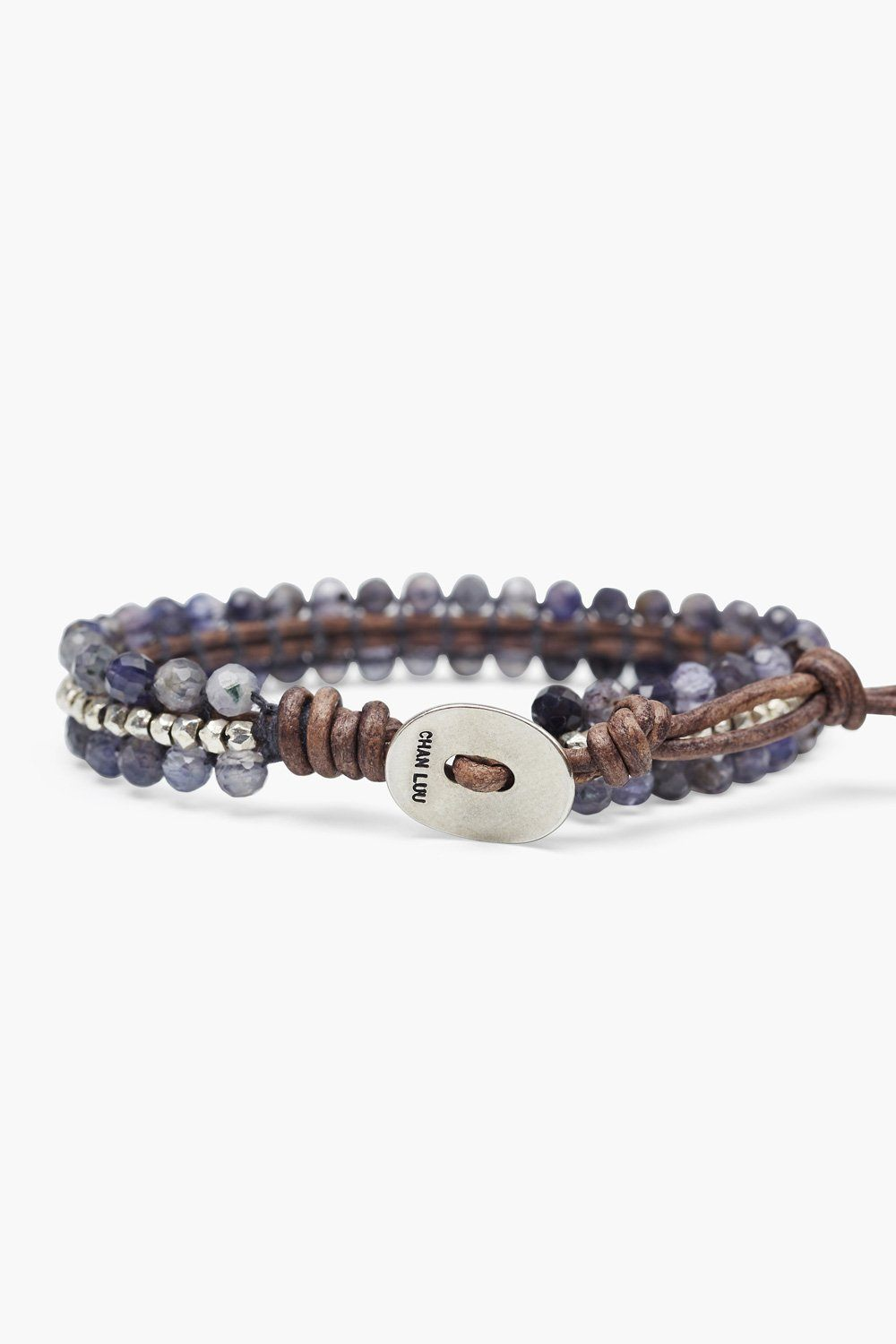 Iolite and Silver Nugget Single Wrap Bracelet