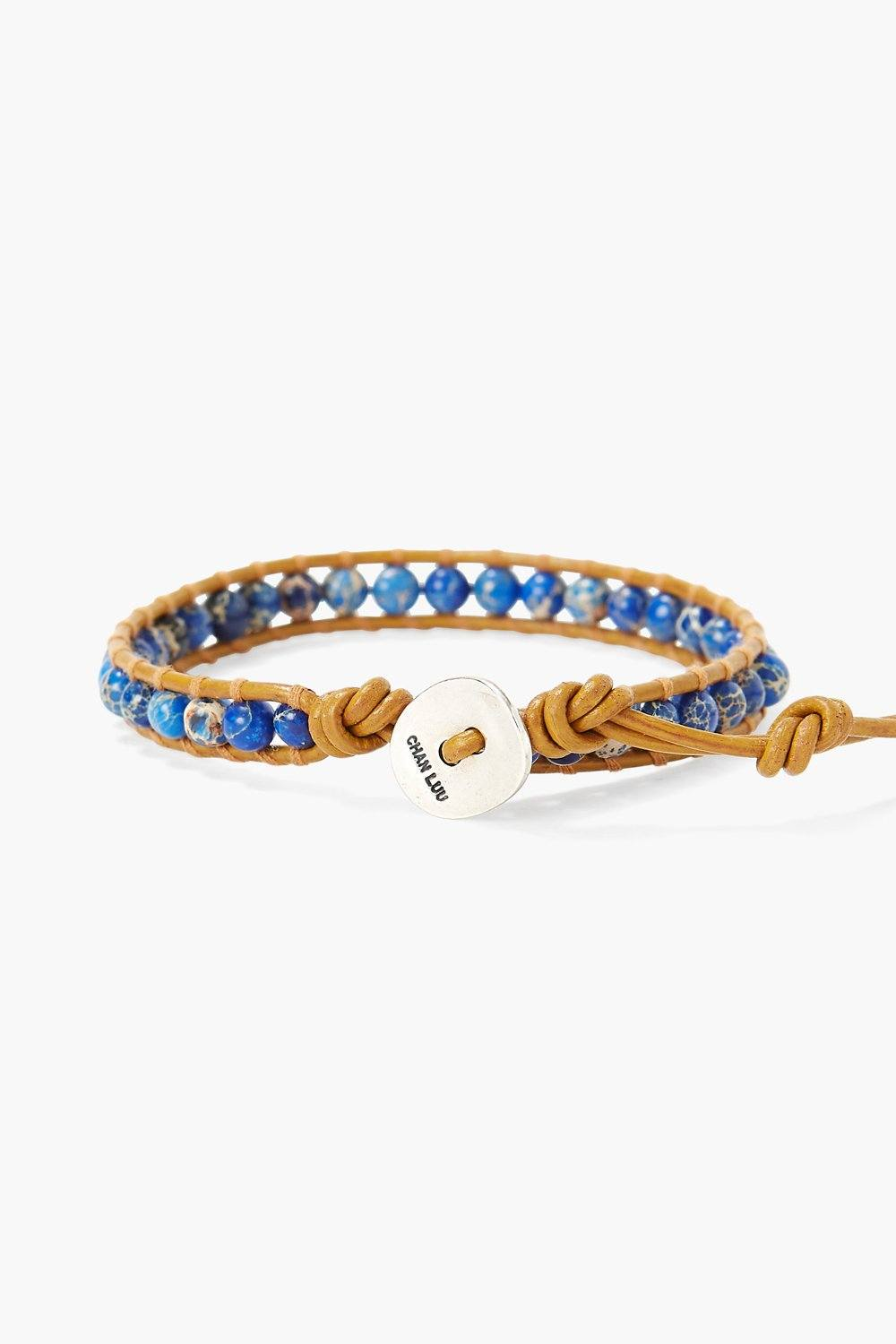 Blue Impression Jasper Single Wrap Bracelet