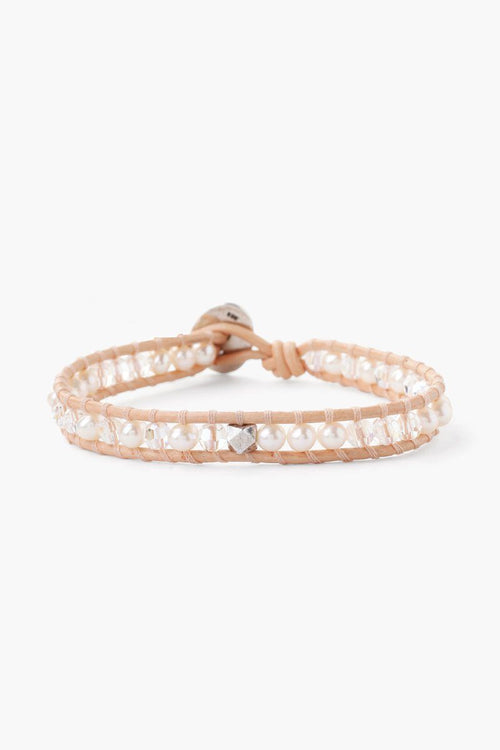 White Pearl Mix Single Wrap Bracelet on Peach Leather