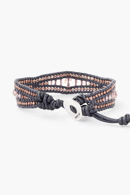 Vintage Rose Single Wrap Bracelet on Gunmetal Leather