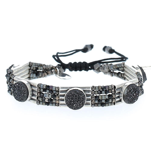 Gunmetal Agate Adjustable Statement Bracelet
