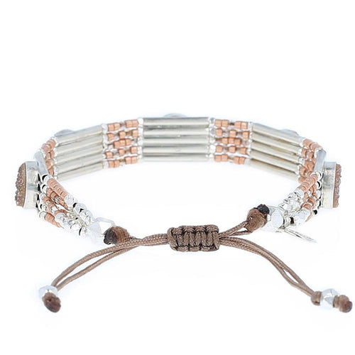 Rose Gold Agate Statement Pull-Tie Bracelet