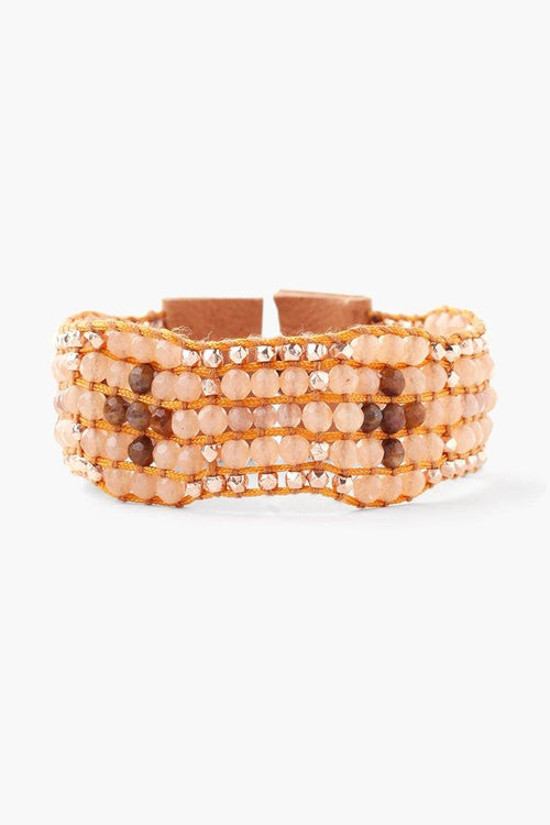 Nutmeg Mix Leather Single Wrap Bracelet