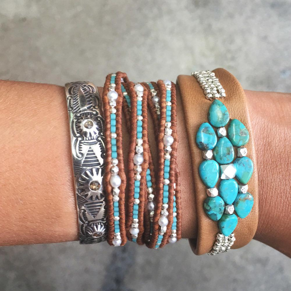 Turquoise Mix Seed Bead Five Wrap Bracelet on Natural Brown Leather
