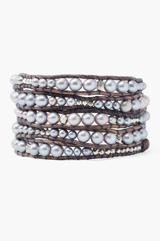 Graduated Grey Pearl Wrap Bracelet