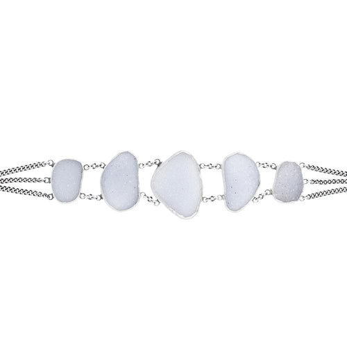 Natural White Agate Statement Chain Bracelet