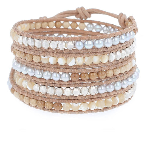Natural Mix Silver Five Wrap Bracelet on Beige Leather