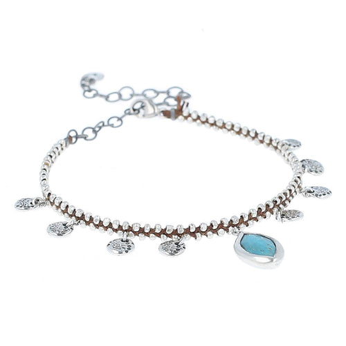 Turquoise Silver Charm Bracelet