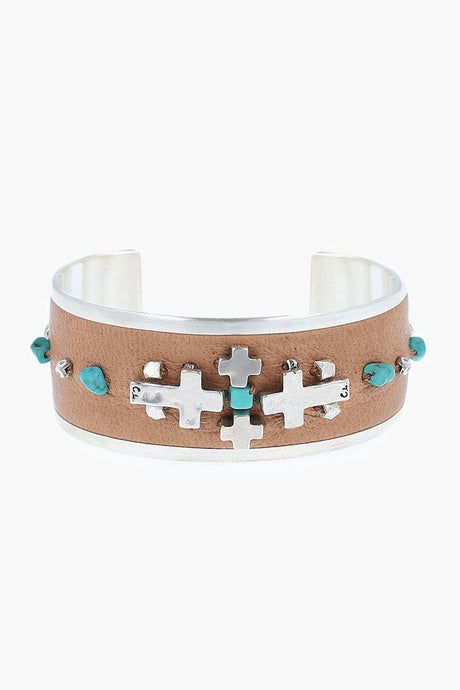 Silver Cross and Turquoise Cuff