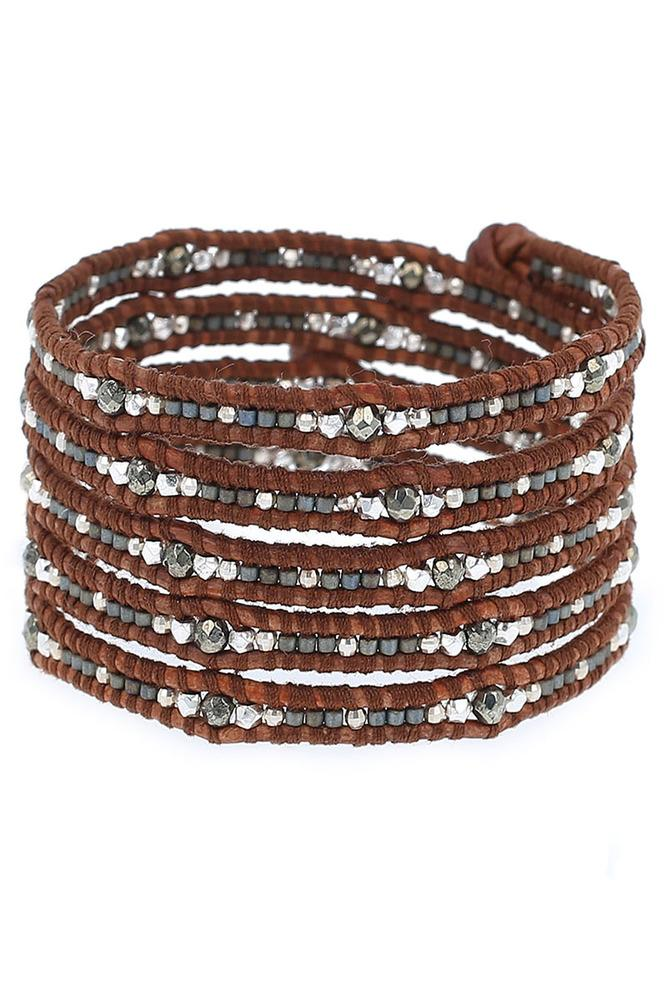 Pyrite and Silver Five Wrap Bracelet on Natural Brown Leather