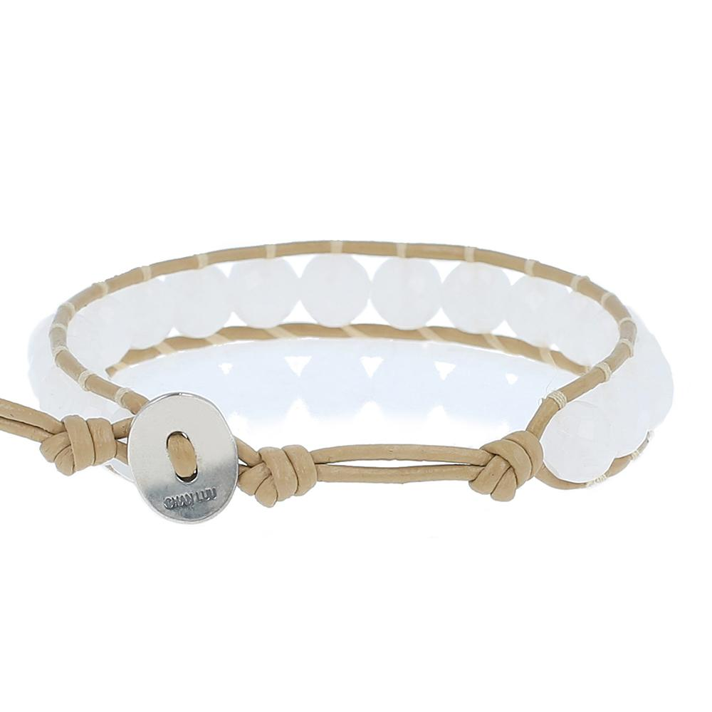 White Jade Single Wrap Bracelet on Petal Leather