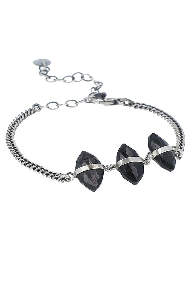 Hypersthene Evil Eye Chain Bracelet