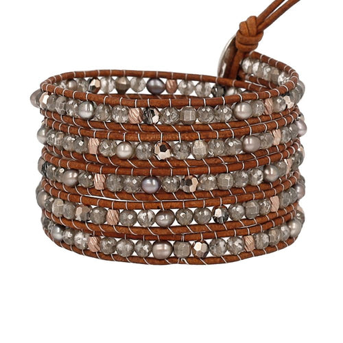 Taupe Mix Stone Five Wrap Bracelet