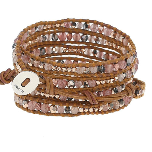 Strawberry Quartz Mix Five Wrap Bracelet