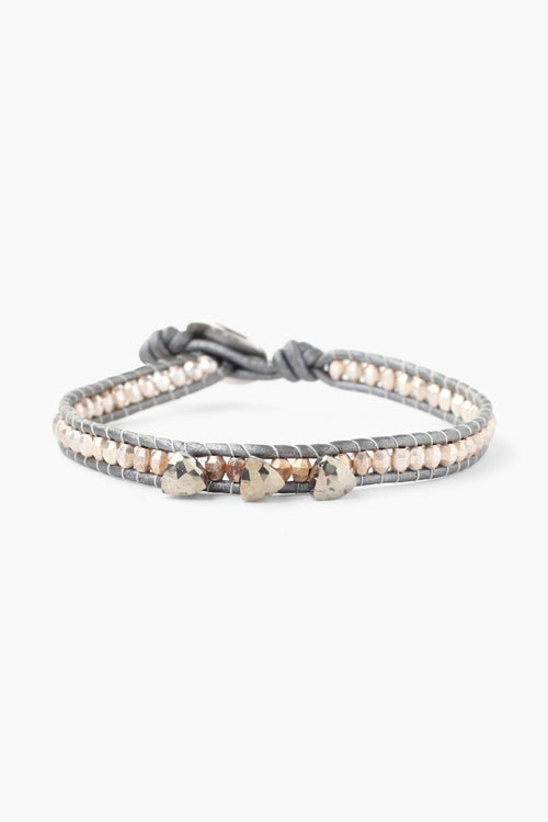 Pyrite Single Wrap Bracelet on Grey Leather