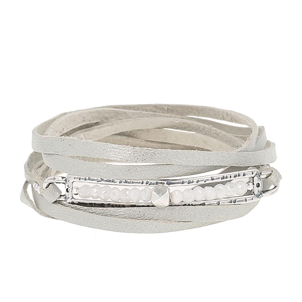 Silverite Flat Leather Wrap Bracelet