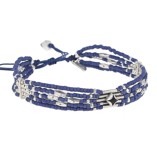 Santa Fe Adjustable Blue Pull-Tie Bracelet