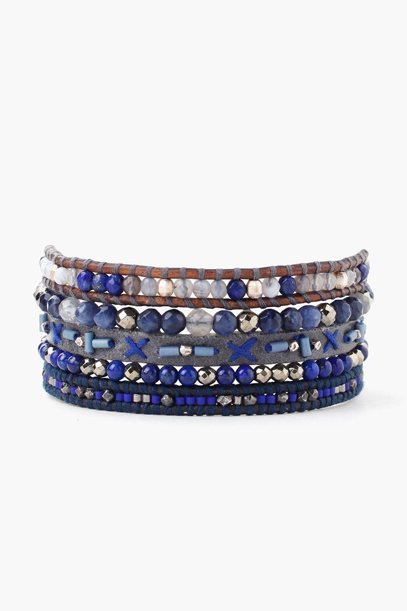Blue Mix Multi Strand Wrap Pull-Tie Bracelet