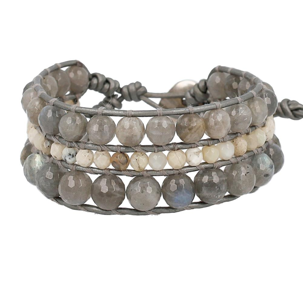 Labradorite Mix Multi Strand Single Wrap Bracelet