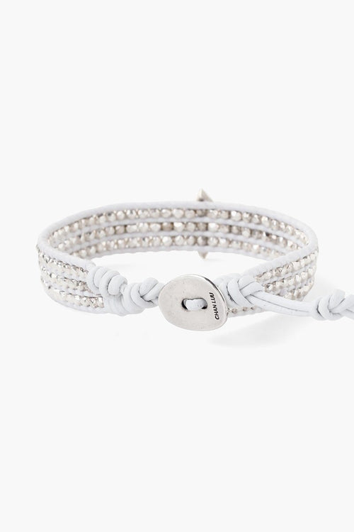 White MOP Statement Silver Single Wrap Bracelet