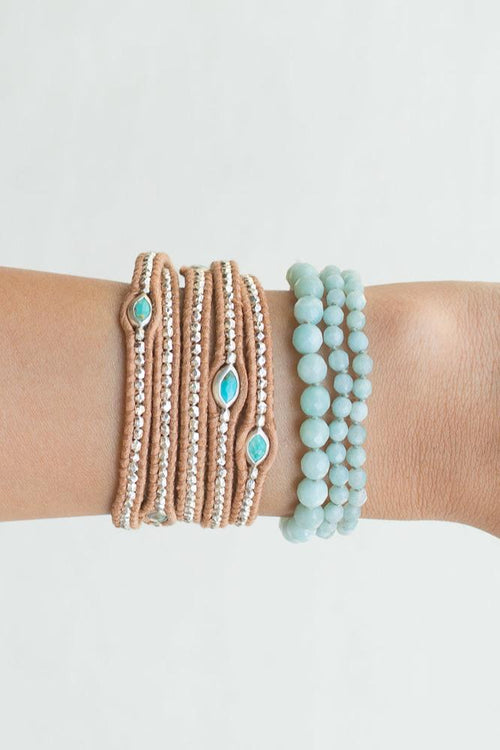 Amazonite Strand and Tassel Bracelet