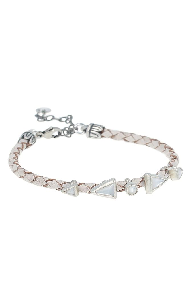 White MOP Braided Leather Bracelet