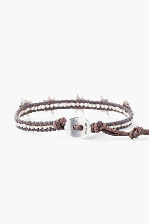 Silver Star Single Wrap Bracelet on Natural Grey Leather