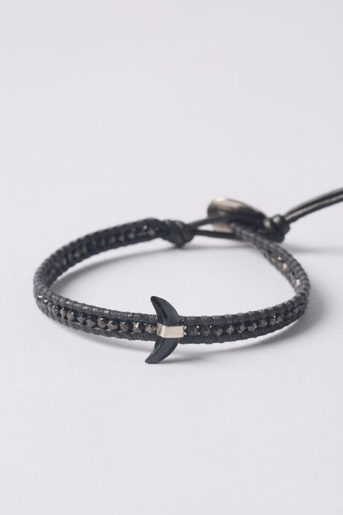 Gunmetal Black Spinel Moon Pendant Single Wrap Bracelet