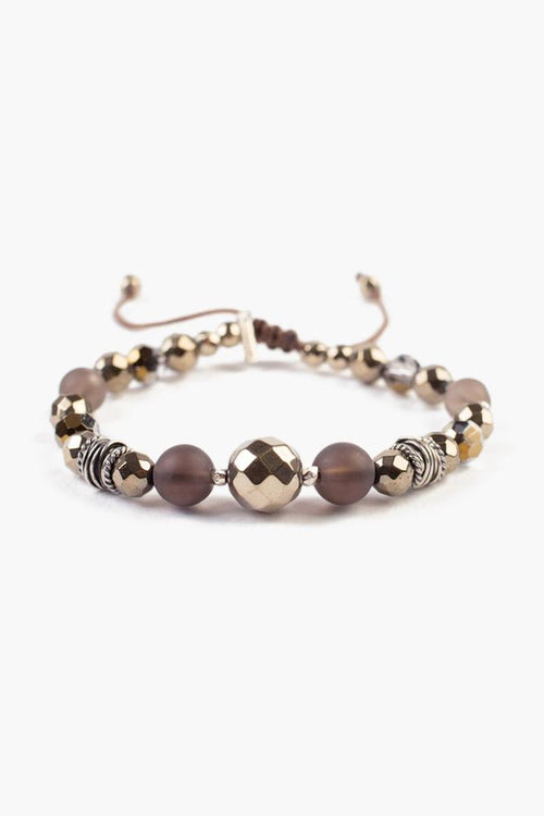Smokey Quartz Mix Pull-Tie Bracelet