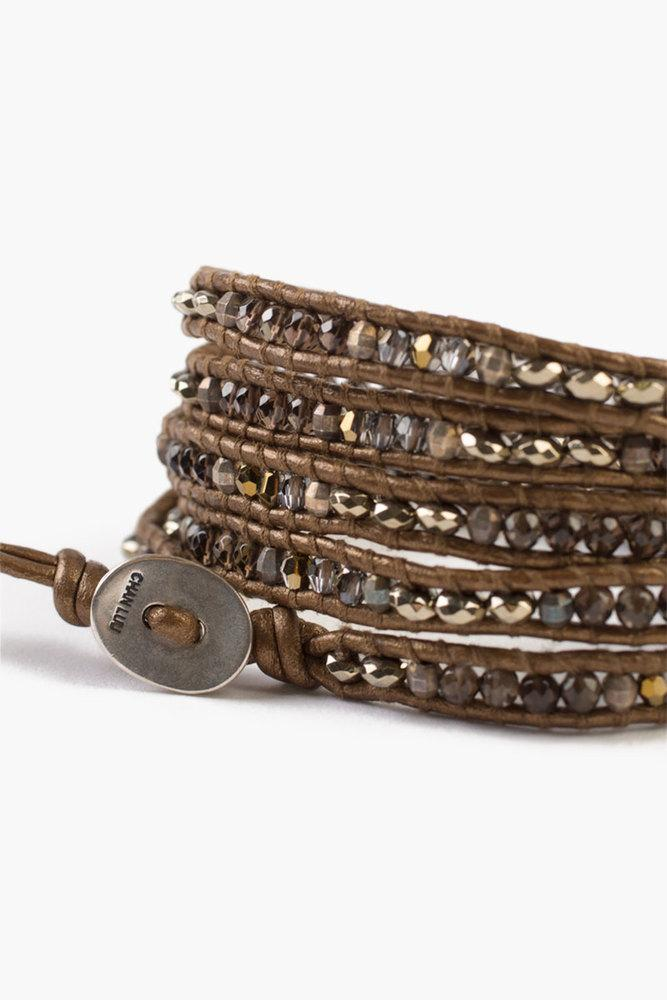 Smokey Quartz Mix Five Wrap Bracelet