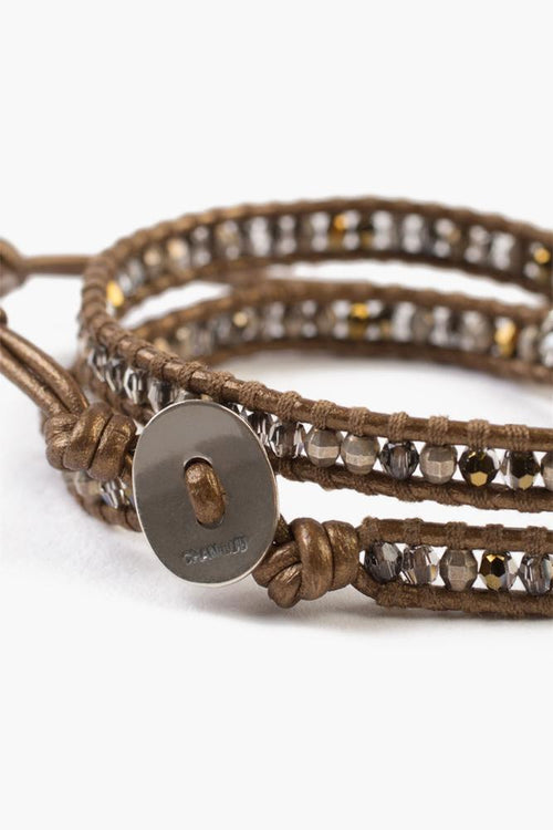 Bronze Mix Bullet Charm Double Wrap Bracelet