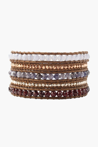 Iolite Mix Kansa Leather Wrap Bracelet