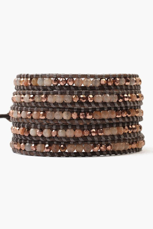 Sunstone Five Wrap Bracelet on Natural Grey Leather