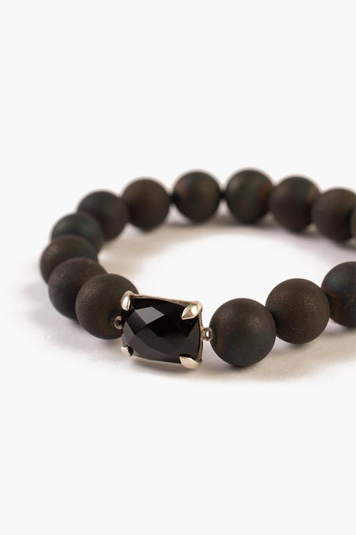 Matte Black Agate Stretch Bracelet