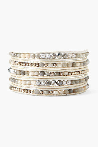 Metallic Silver Mix Wrap Bracelet