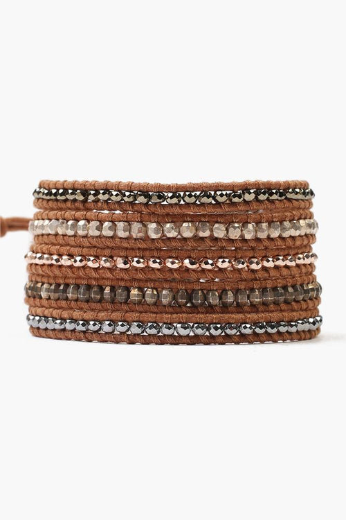 Beige Mix Five Wrap Bracelet