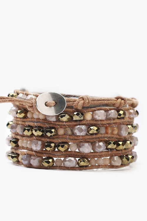 Sunstone Mix Five Wrap Bracelet on Beige Leather