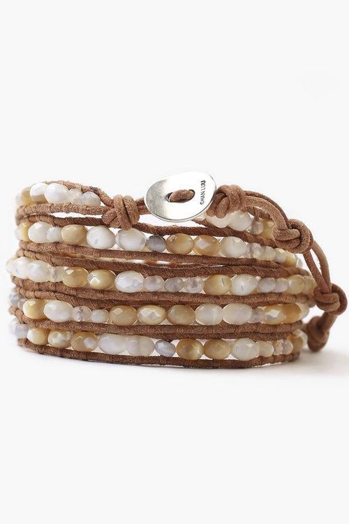 White Mix Five Wrap Bracelet on Beige Leather
