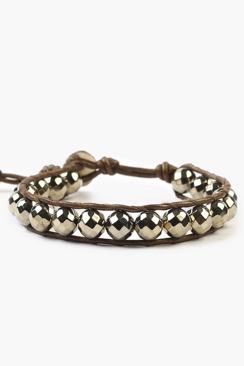 Pyrite Single Wrap Bracelet on Kansa Leather