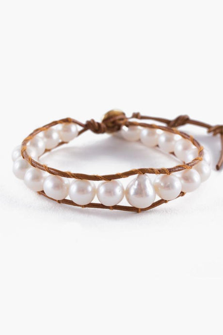 White Pearl Single Wrap Bracelet on Henna Leather