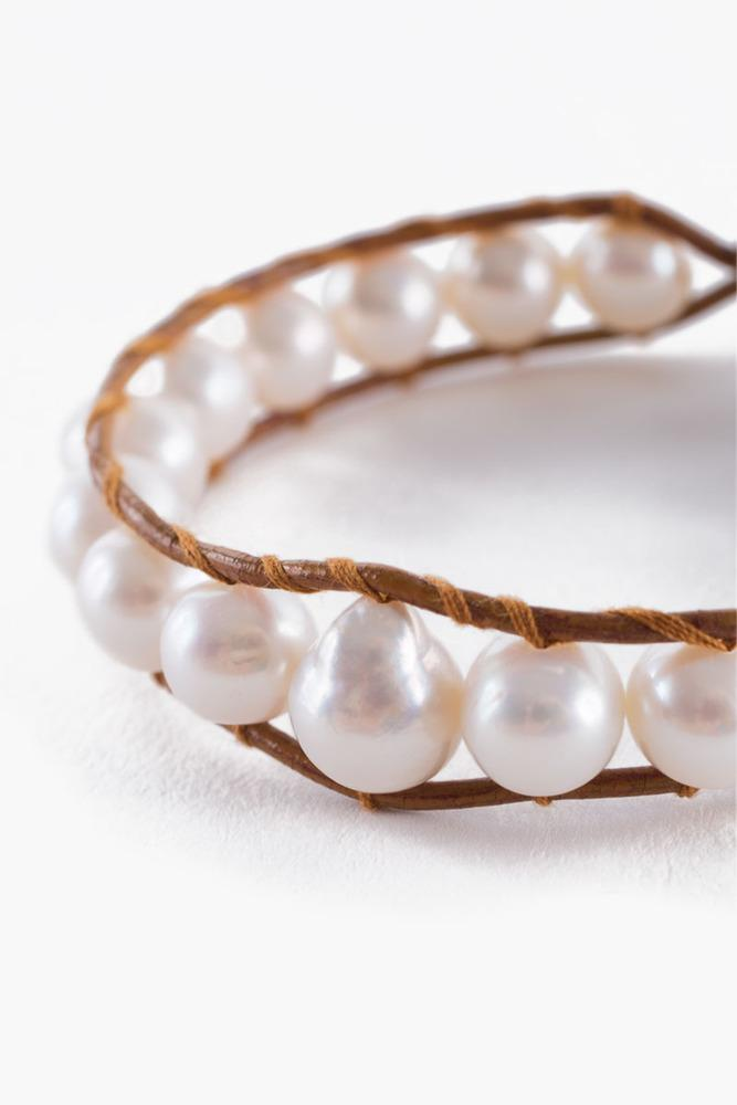 White Pearl Single Wrap Bracelet on Brown Leather