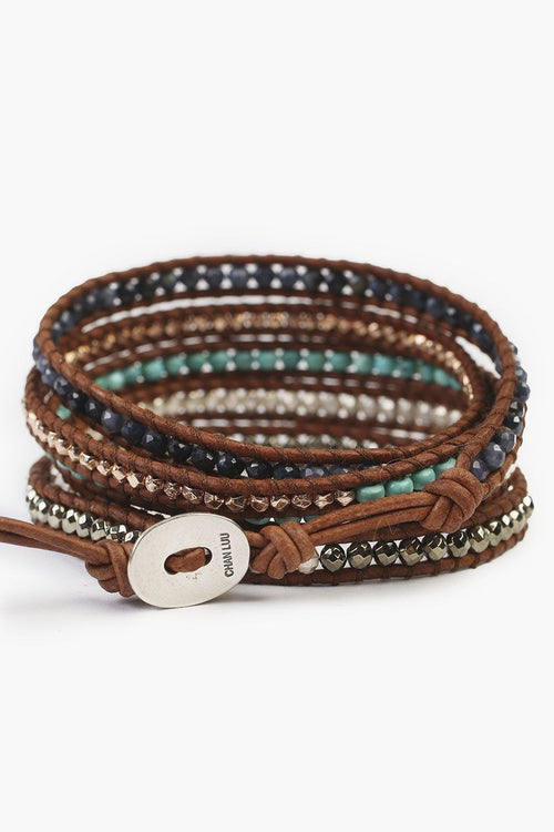 Blue Mix Five Wrap Bracelet on Natural Brown Leather