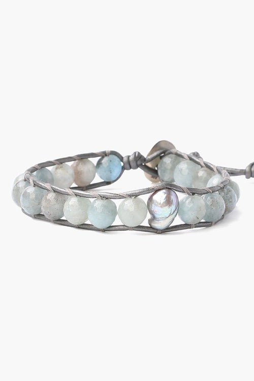Aquamarine Single Wrap Bracelet with Grey Baroque Pearl (Pre-Order)