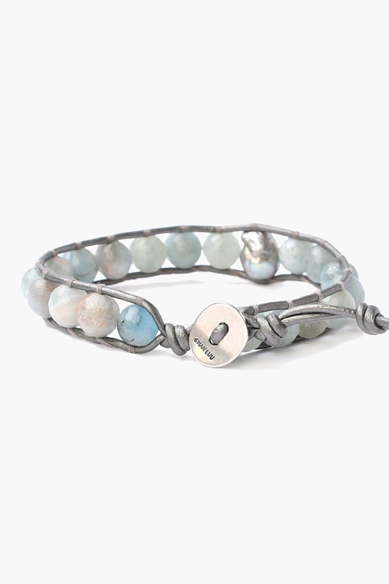 Aquamarine Single Wrap Bracelet with Grey Baroque Pearl