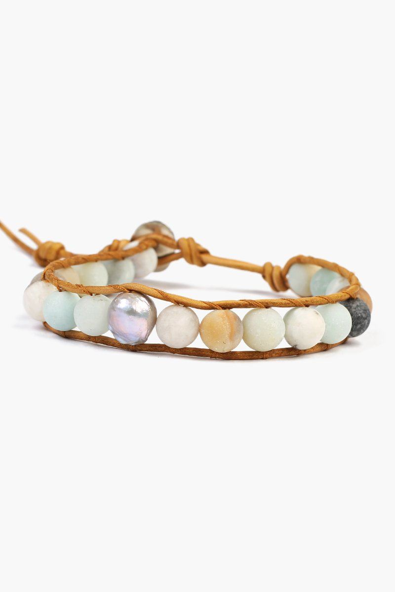 d6dd548c9cbd Matte Multi-Amazonite Single Wrap Bracelet with Grey Baroque Pearl ...