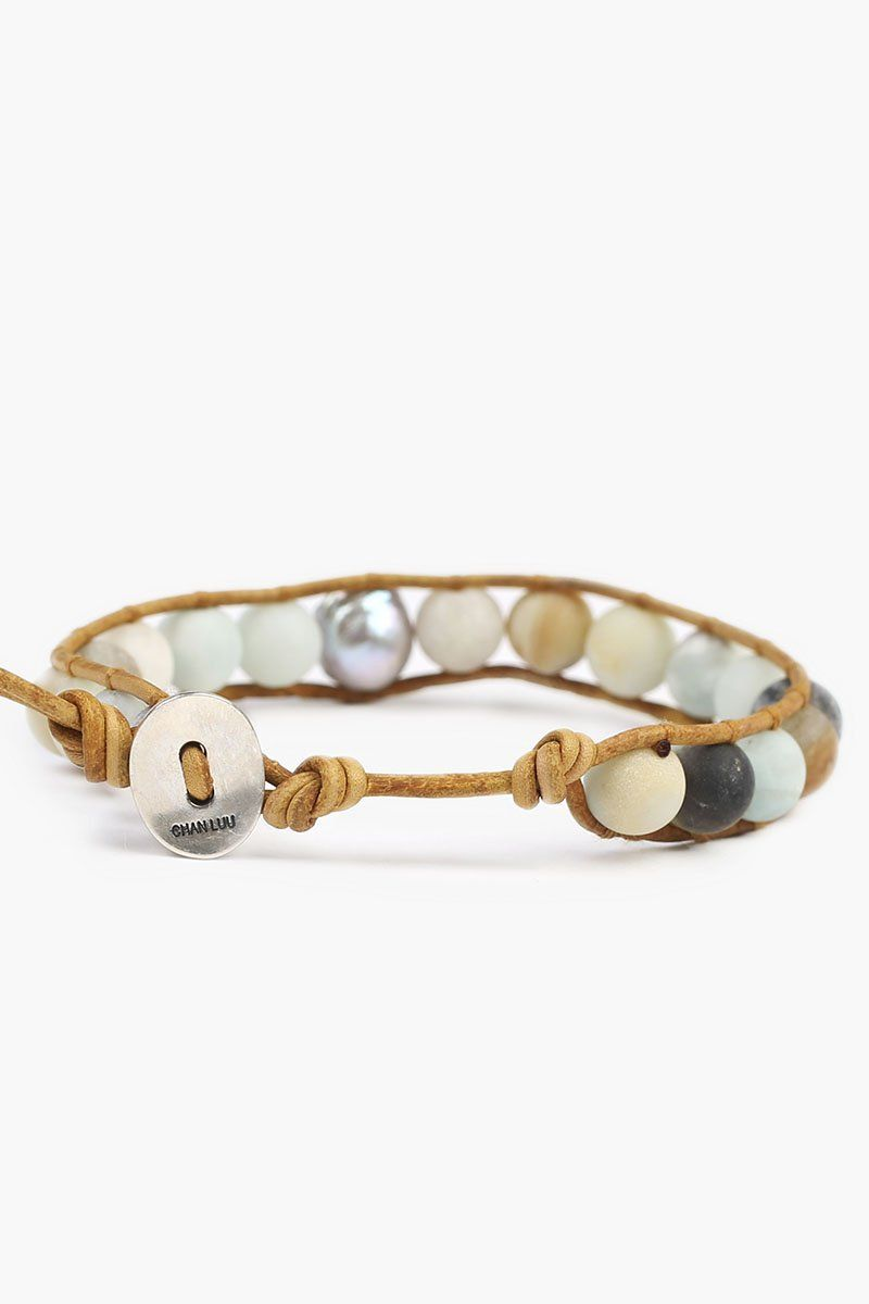 Matte Multi-Amazonite Single Wrap Bracelet with Grey Baroque Pearl