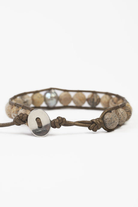Matte Picture Jasper Single Wrap Bracelet with Grey Baroque Pearl
